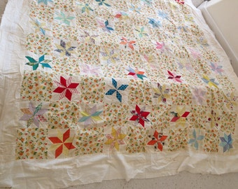 Vintage Quilt Top Eight Point Star 1930 1940 Quilting