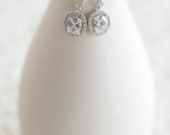 CZ Oval Earrings, Bridesmaid Jewelry, Oval Halo Earrings, Bridesmaid Gift, Bridesmaid Earrings, Wedding Jewelry, Bridal Earrings, Dangle