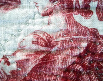 Toile de Jouy antique  French  valance quilted red  Fabric 18th-century linen hemp
