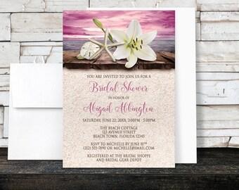 Beach Bridal Shower Invitations - Lily Seashells and Sand Magenta Plum Pink Purple Rustic design - Tropical Seaside - Printed Invitations