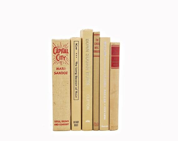 Marigold Antique BOoks, Orange Brown Decorative Books, Cream Book Decor, Book Collection, Wedding Table Setting Centerpiece, Interior Design