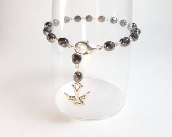Hematite Crystal Rosary Bead Style Bracelet with Silver Swallow Charm