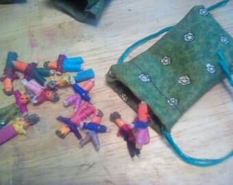 Set of worry dolls in pentagram pouch