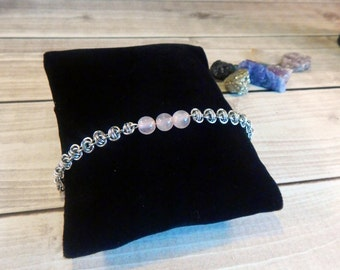 Stacking Rose Quartz and Barrel Weave Chainmaille Bracelet