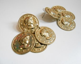 Gold Coin Earrings/ Gold Coin Jewelry/ 90s Earrings/ Versace Earrings/ Big Gold Earrings/ Versace Inspired/ Versace Jewelry/ Hip Hop Earring
