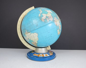 Vintage Ohio Art World Globe // Small Metal Geography Globe with World Flags Base Child's Student's Map Office Home Decor Shelf Decoration