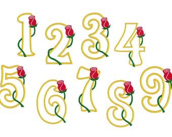 Full Number Rose Set 1-9 Digital Machine Embroidery Appliqué Design