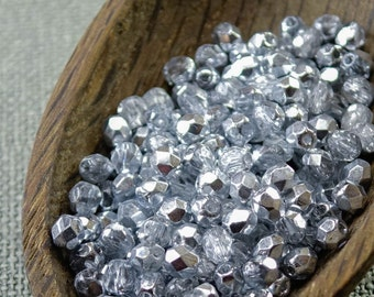 4mm silver beads Half coated Czech fire polished beads 50pc Faceted silver beads 4mm glass beads