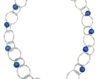 Piano Wire Necklace Silver with Blue Geode Stone Beads