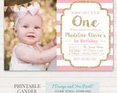 Pink and Gold Birthday Invitation - 1st Birthday Invitation - Girl Birthday Invitation - Gold Glitter Invitation - DIY Printable