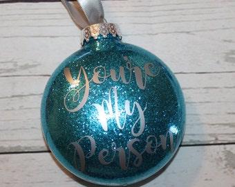 USF Bulls Round Hanging Glitter Christmas Ornament Bulls