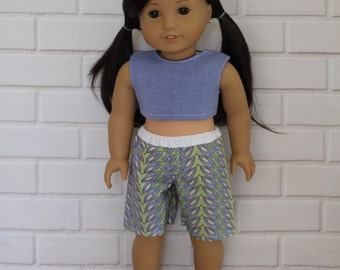"Periwinkle Blue Crop Top Purple Green Board Shorts for 20"" Australian Girl dolls & 18"" American Girl type dolls"