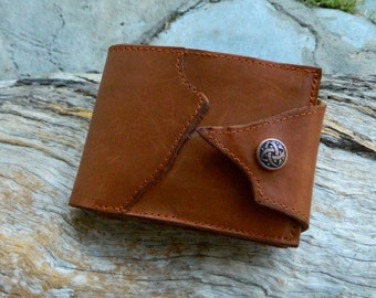 Tan Leather Wallet Men or Woman with Zipped Coin Pocket and Suede Lining Recycled Leather Wallet