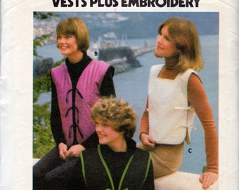 """1970's Women's Tie Vest Pattern with Embroidery Transfer - Size Medium (12-14) Bust 34""""-36"""" - Butterick 4961"""