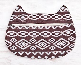 Brown Cosmetic Bag, Cat Pencil Case, Tribal zipper pouch, Bridesmaid Gift native american Makeup Bag Toiletries Bag