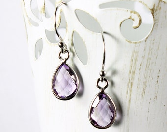 Amethyst earrings, Sterling Silver dangle earrings, purple gemstone earrings, fine, delicate, February birthstone, gift for her, ER2627