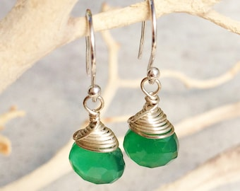 Green Onyx Earrings, Sterling Silver wire wrap, emerald green gemstone, minimalist, artisan, boho, simple everyday, gift for her, 2141