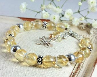 Golden Citrine Bracelet, 925 Sterling Silver, Genuine Natural Citrine Jewelry, modern bohemian bracelet, stackable gemstone bracelet, 4121
