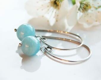 Aquamarine Earrings, Sterling Silver, threader earrings, wire wrap, blue gemstone, modern artisan earrings, gift for her, March birthstone