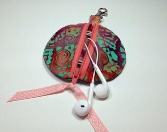 Earbud Holder, Tech gift, Terra Cotta Circle Earbud Pouch, Zipper ipod shuffle bag, Headphone Gadget Case, Coin Purse, Zip Cord Organizer