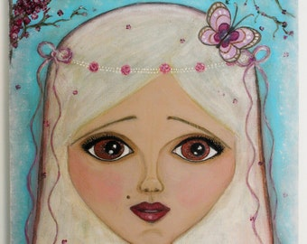 OOAK Original Acrylic and Pastel on Canvas Painting Art Cherry Blossoms Butterfly Big Eyed Girl
