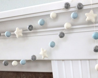 Felt Ball & Star Garland- Blue Gray White- Pom Pom- Nursery- Holiday- Wedding- Party- Childrens Room