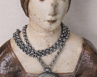 Antique Button Necklace Pocket Watch Long Chain, Heirloom Jewelry Victorian Pendant Chunky Upcycled Assemblage Button Jewelry veryDonna