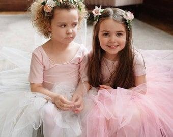 Flower Girl Set Pink Tutu Tulle Bridesmaid Skirt with Pink Flower Hair Clips UK Seller