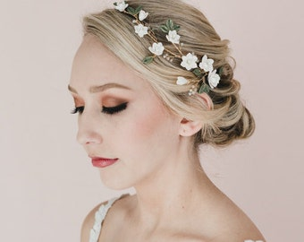 White Magnolia and Green Leaves Hair Vine.  Bridal Hair Vine.