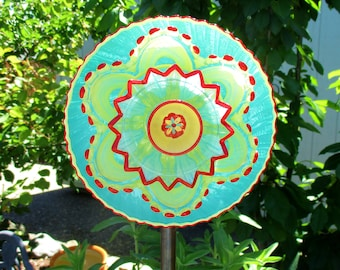 vintage glass plate flower, upcycled glass art, plate flowers, garden decoration, gardeners gift, Birthday gift, Teal, Yellow & Red