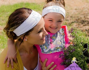 Mommy & Me Monogrammed Headbands, Mother's Day Gift, Personalized Gift for Girl, Gift for Her, Yoga Headband with Monogram, Athletic Band