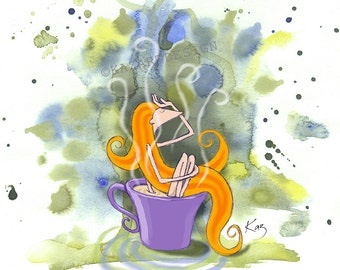 """Phoebe's Tea Fix 8x10"""" Print, Tea Lover, Gift for Girlfriend, Gift for Her, Gift for Tea Lover, Original Art, Quirky Gifts, Get well gift"""