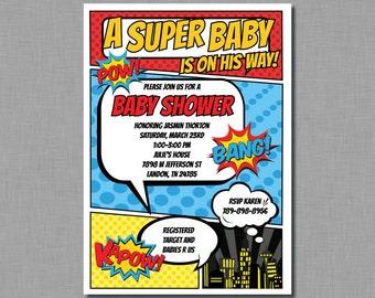 Superhero baby shower invitation superhero shower baby boy shower invitation superhero baby shower invite Aiden BC76 Printable or Printed