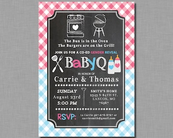 Gender Reveal Baby Q Invitation baby shower pink blue Cameron GR05 Digital or Printed