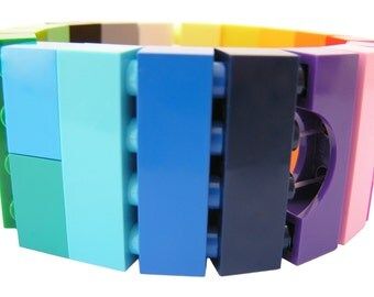 Funky colorful bracelet - made from LEGO (R) bricks on stretchy cords