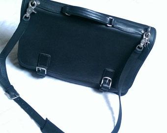 Vintage Coach Genuine Leather Messenger Bag Made in USA - Black Coach No.J4D- 5310