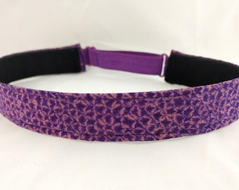 Adjustable non-slip Headband hairband made with vintage silk kimono fabric - plum purple and pink shibori