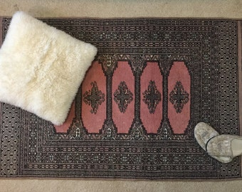 Vintage Bokhara Oriental Wool Rug 3x5 63in. x 38in. Hand Woven Geometric