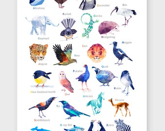 New Zealand Alphabet, T is for Tui, Alphabet classroom poster, ABC Poster, New Zealand art, Nursery alphabet poster, Children's alphabet art