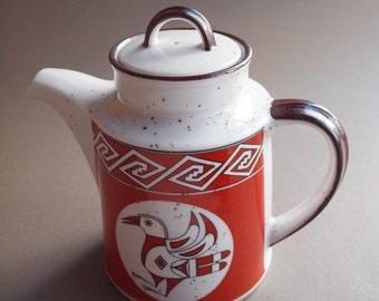 70s Enesco coffee pot Mountain & Mesa pattern Southwestern style rustic kitchen tribal design bird design rust and brown