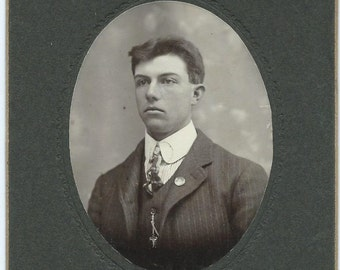 Antique Cabinet Card Photo, Handsome young Man