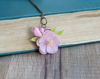 Cherry blossom necklace - cherry blossom pendant - sakura jewelry - sakura pendant - pink flower pendant - flower jewelry - floral necklace