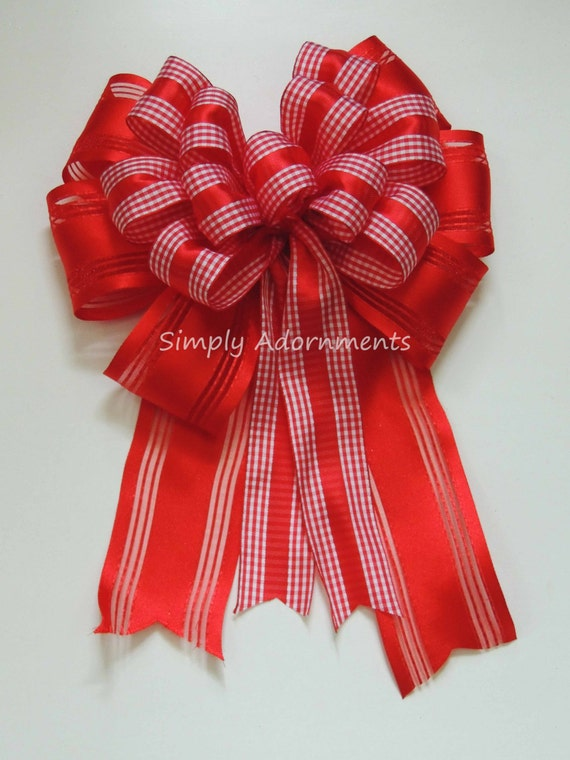 Red Valentine Wreath Bow Red Valentine Gingham Bow Country Gingham Bow Valentine Gingham Bow Door Hanger Bow Valentine Gift Wrapping Bow