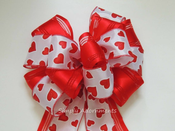 Red Valentine Heart Bow Red Valentine Heart Wreath Bow Red Valentine Wedding Pew Bow Red Valentine Gift Bow Door hanger Bow