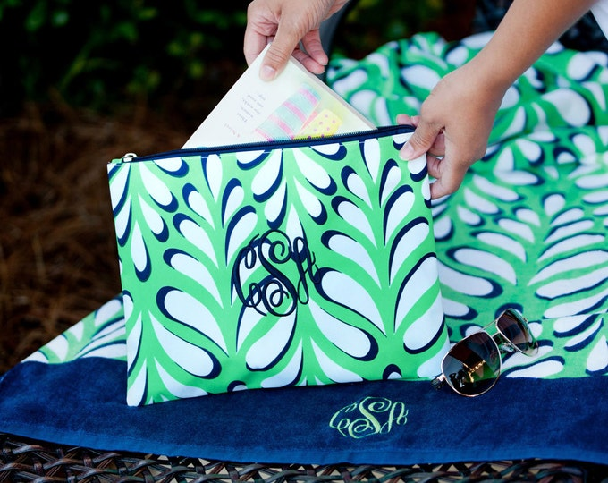 Monogrammed Clutch, Monogrammed Gifts, Monogrammed Bridesmaid Gift, Island Palm Collection, Cosmetic Pouch, Toiletry Bag, Travel Set