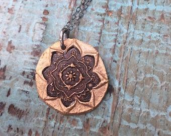Bronze mandala necklace