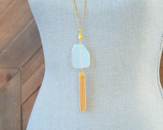 Long Tassel Necklace - Chain Tassel Necklace - Long Fringe Necklace - Stone Tassel Necklace - White Opal Necklace - Long Opal Necklace