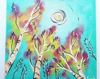 "Tree Gazer - Original Acrylic Painting OOAK 12""x12"""