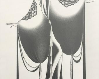 fashion illustration / art deco decor / original pencil drawing / flapper / fashion sketch /