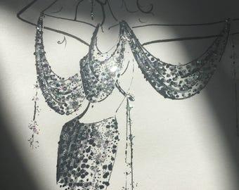 fashion illustration - glam - disco - glitter - original drawing - ink pen - sketch